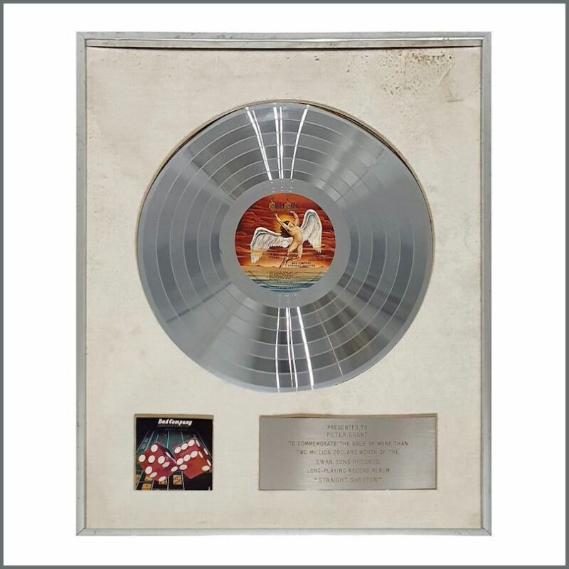 Bad Company 1975 Straight Shooter Peter Grant Silver Disc Award (USA)