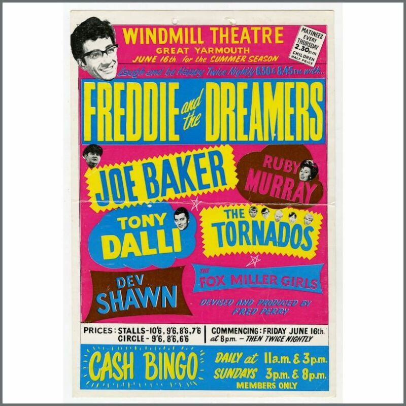 Freddie & The Dreamers 67 Windmill Theatre Great Yarmouth Concert Window Card UK