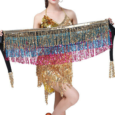 Belly Dance Costume Skirt Hip Scarf Performance Sequin Festival Halloween Show  - Belly Showing Halloween Costumes