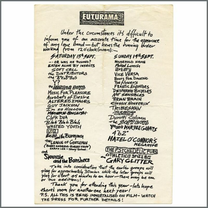 The Fall/Altered Images 1981 Manchester Rafters Concert Handbill (UK)