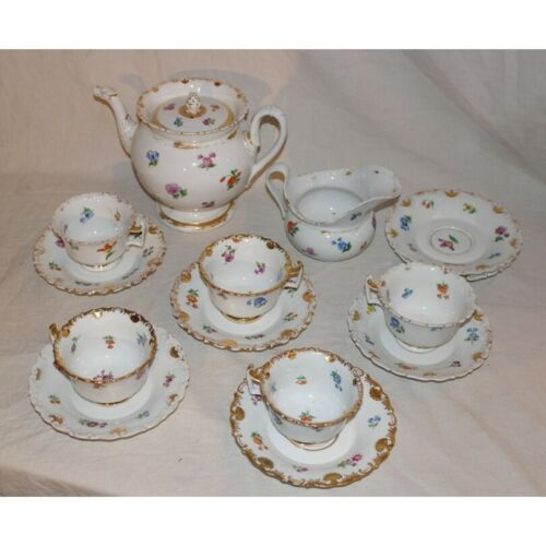Antique 19th Original Germany Rare gilt Meissen porcelain tea service Marked