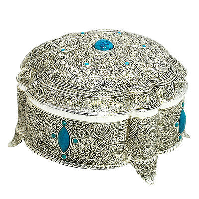 Silver plated jewelry storage box Filigree art work display Earring necklace