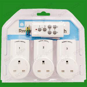 3x Wireless Remote Control Electric Power Saving UK 3 Pin Mains Plug Socket Set