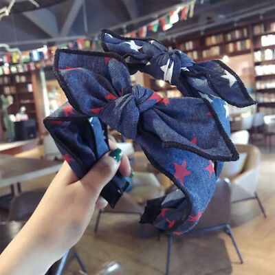 Fashion Woman Hairband Denim Stars Bow Headband Fabric Hair Band Accessories (Star Headband)