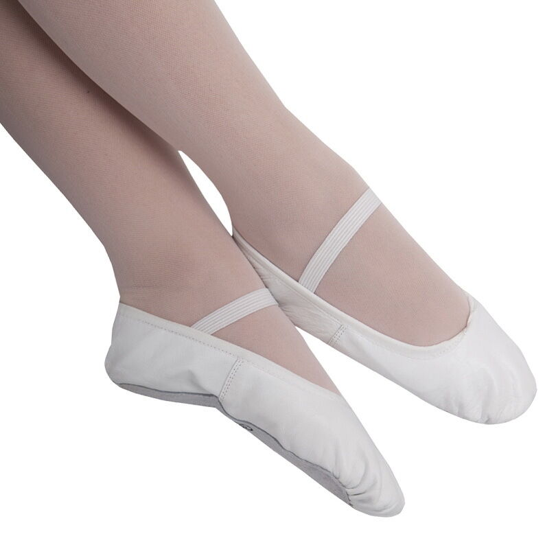 boys white leather ballet shoes with pre sewn