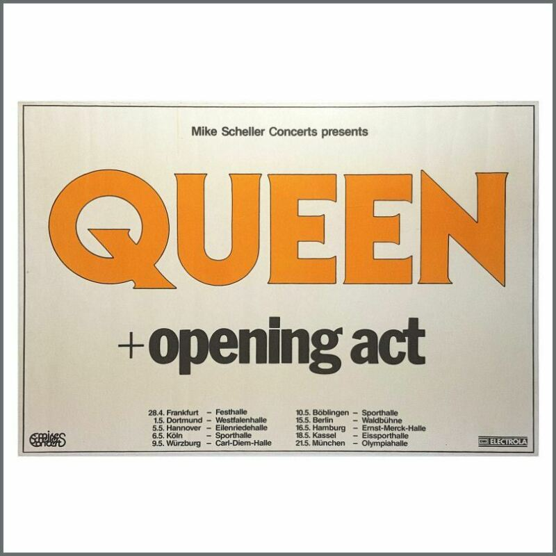Queen 1982 Hot Space EMI Electrola Tour Poster (Germany)