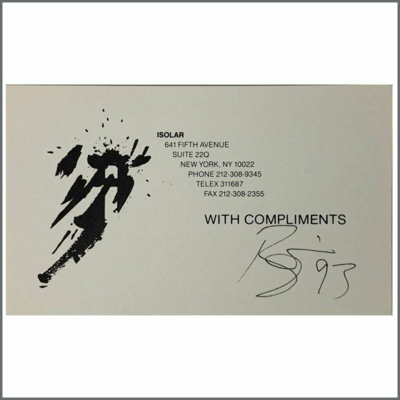 David Bowie 1993 Autographed Isolar Compliments Card (USA)