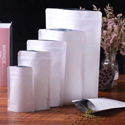 Stand Up White Kraft Paper Aluminum Foil Zip Bags Food Packaging Lock Resealable