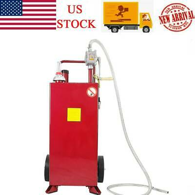 Red 30 Gallon Gas Caddy Tank Storage Drum Gasoline Diesel Fuel Transfer Tool
