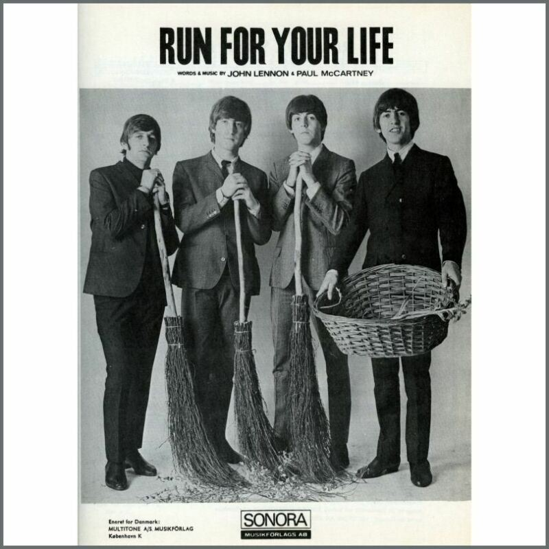 The Beatles 1965 Run For Your Life Sonora Sheet Music (Scandinavia)
