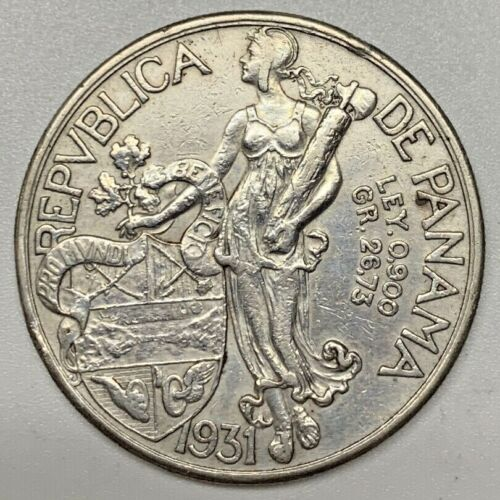1931 Panama Balboa Ley .900 Silver VF Very Fine Lightly Cleaned Coin