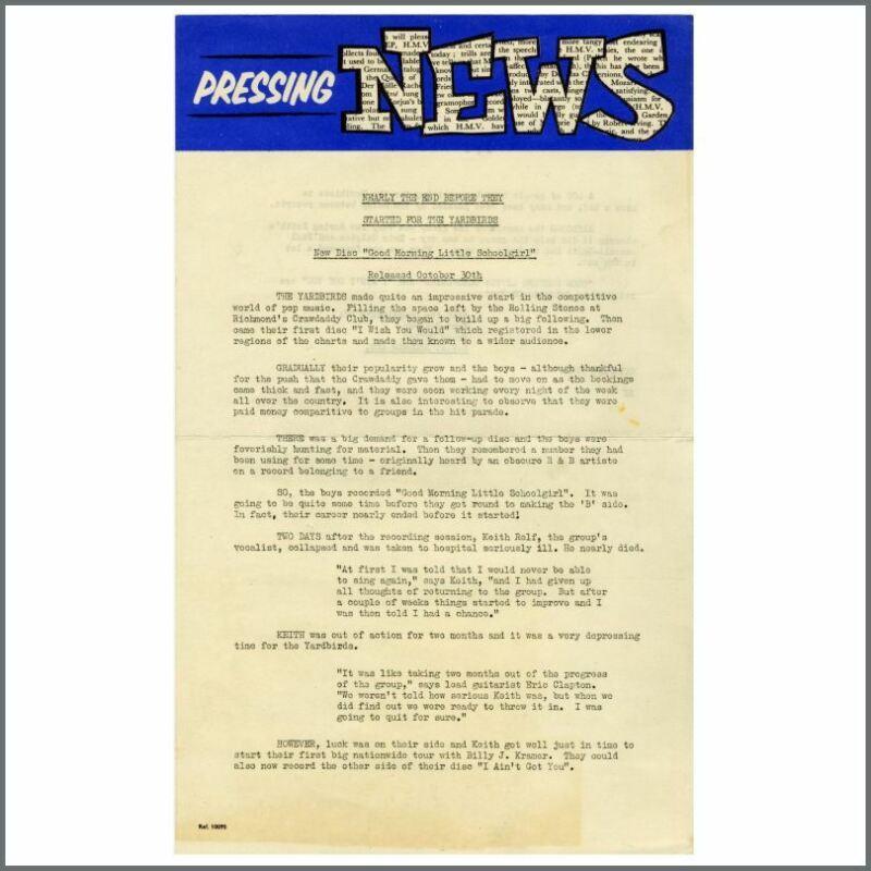 The Yardbirds 1964 Good Morning Little School Girl EMI Records Press Release