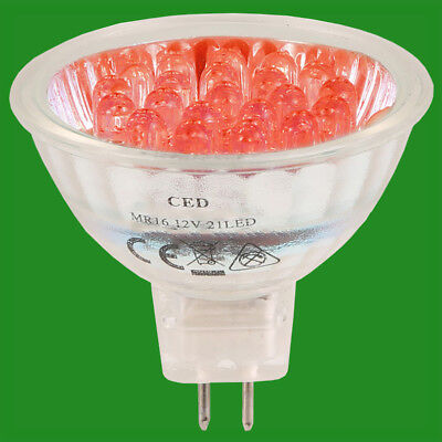 Farbige Mr16 Leuchtmittel (2 X 2W 21 LED Rot Farbig 12V MR16 GU5.3 Sofortige Einschaltung Deckenstrahler)