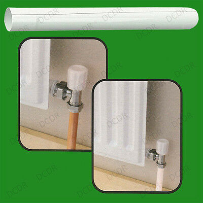 8x 15mm White Plastic Radiator Pipe Sleeve Covers, Easy Fit, 200mm Cut To Size