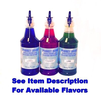 Freezy Cone 3 Quart Bottles Snow Cone Shaved Ice Syrup With Spouts Pick Flavors