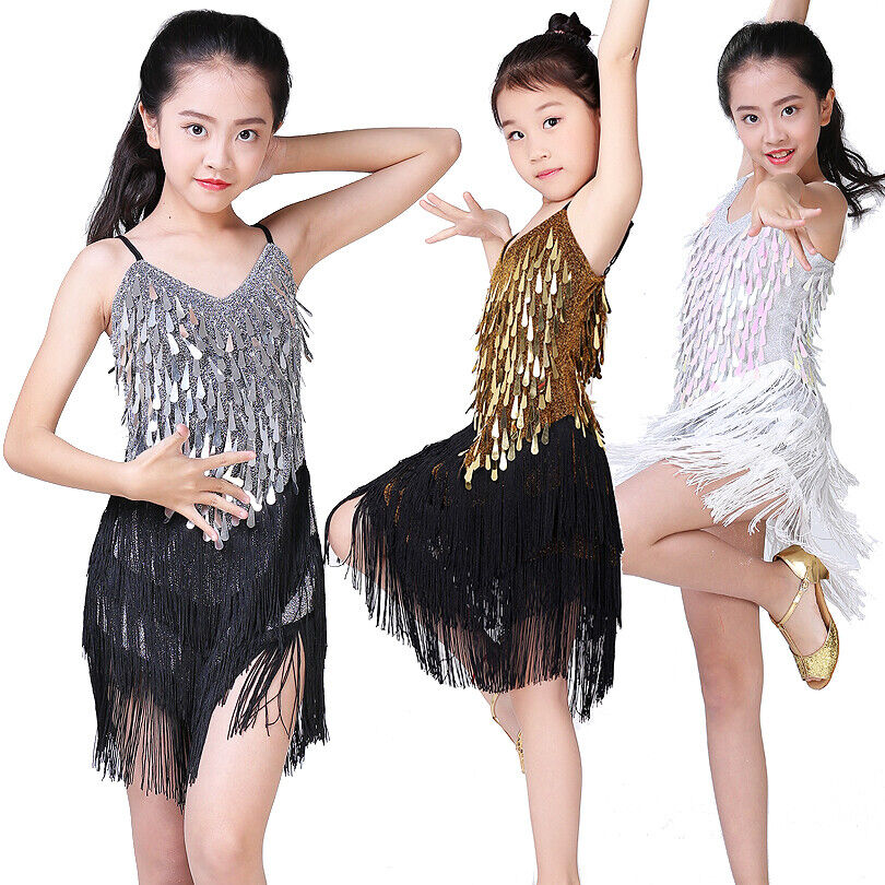 23bb89aa16abc Details about Girls Latin Dance Costume Competition Dress Kids Children  Performance Sequins