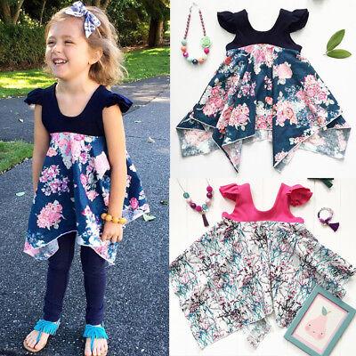 Baby Flower Girl Princess Dresses Pageant Party Cotton Tutu Dress Kids