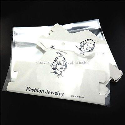 20x 181mm White Earring Necklace Fashion Choker Display Card - Add Plastic Bag