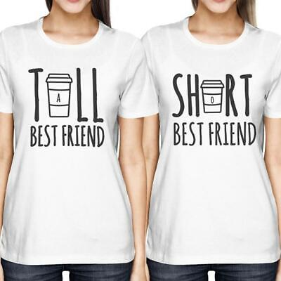 Cute Best Friend Tall Short BFF Matching Women's Fashion Short Sleeve T-Shirt