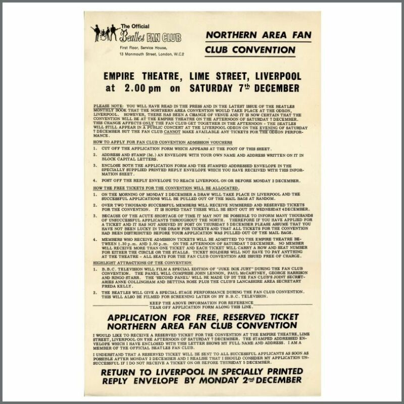 Beatles 1963 Northern Fan Club Get Together Empire Theatre, Liverpool Flyer (UK)