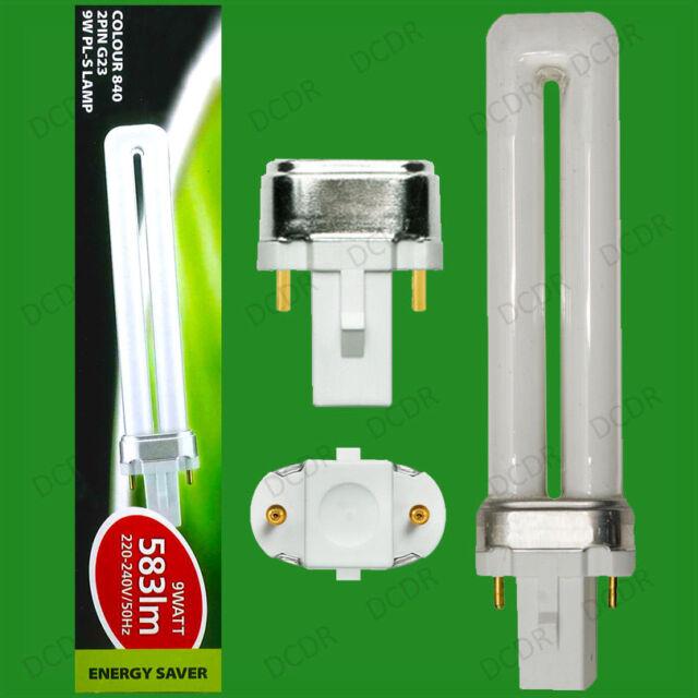 2x 9W G23, 2 pin, Low Energy CFL PL Light Bulbs, 840, 4000K Cool White Lamps