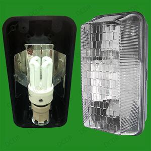 Outdoor Rectangular Black IP65 Bulkhead 15W Dusk To Dawn Sensor CFL Lig