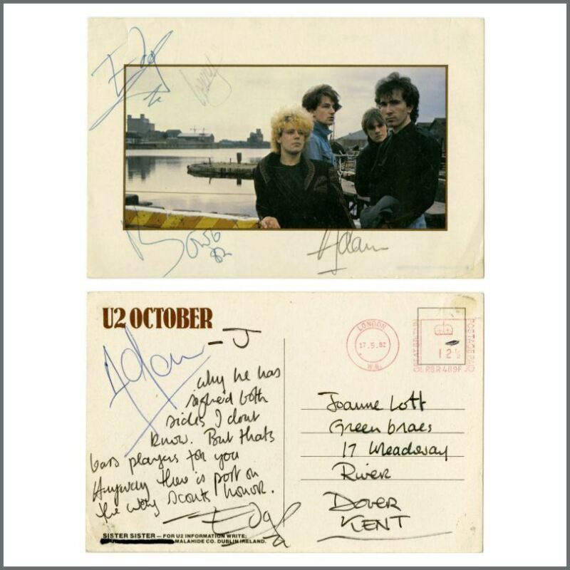 U2 1982 The Edge Handwritten Postcard Fully Signed By The Group (UK)