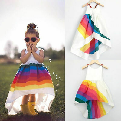 US Stock Summer Baby Girl Dress Rainbow Backless Princess Party Dresses Clothes](Baby Girl Rainbow Dress)