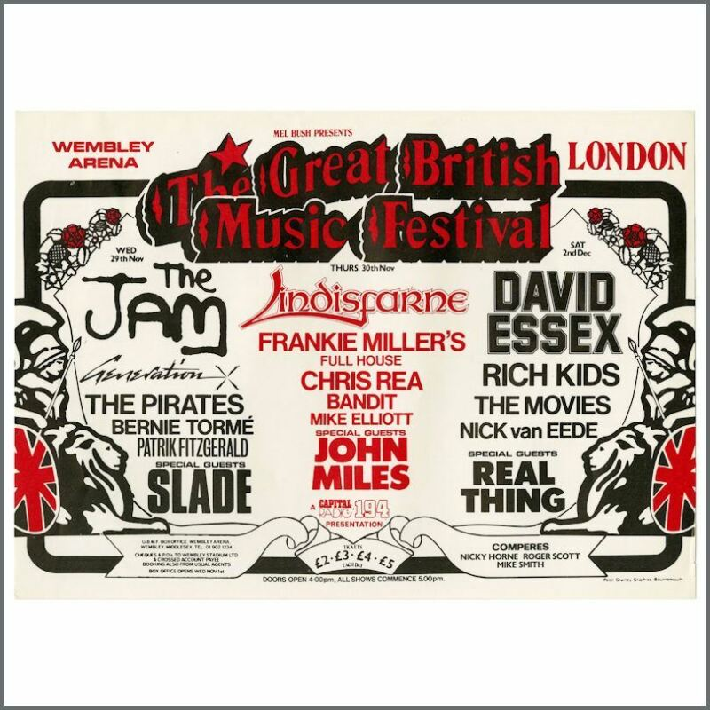 The Jam 78 The Great British Music Festival Wembley Arena Concert Handbill (UK)