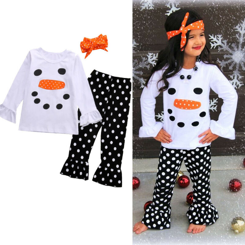 USA Toddler Kid Girl Christmas Snowman Olaf Top T shirt Pants Outfit Set Clothes