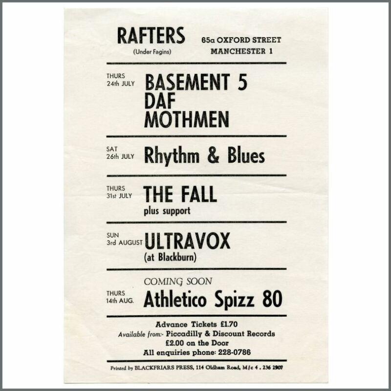 The Fall/Ultravox 1980 Manchester Rafters Concert Handbill (UK)