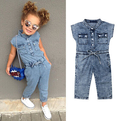 US Summer Toddler Baby Kids Girls Denim Romper Bodysuit Jumpsuit Outfits Clothes (Cowboy Girls Outfits)