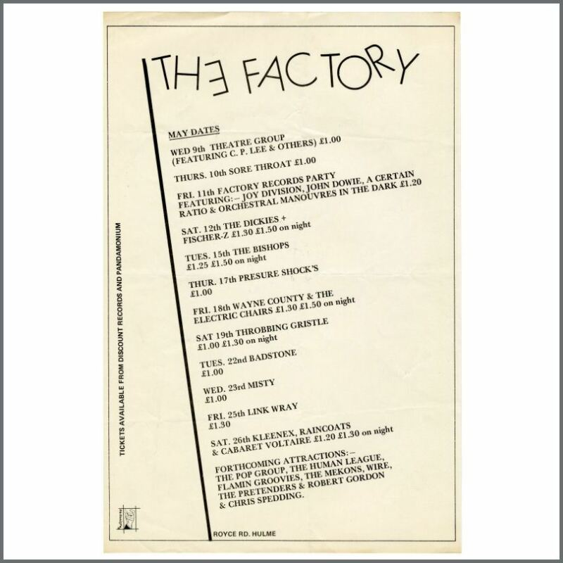 Joy Division 1979 The Factory Royce Road Performance Listings Flyer (UK)