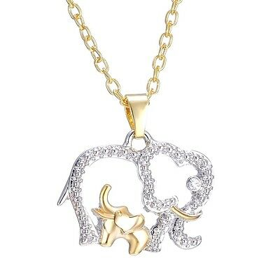 Baby And Mom Dad Elephant Necklace With Crystal Jewelry Gift Silver Gold Usa