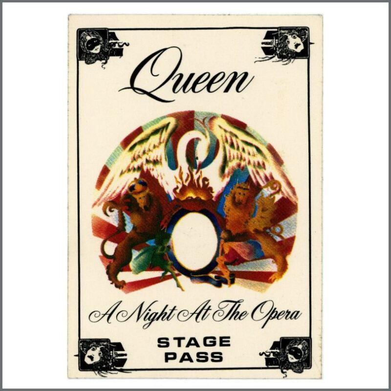 Queen 1975/1976 A Night At The Opera Tour Cloth Stage Pass (UK)