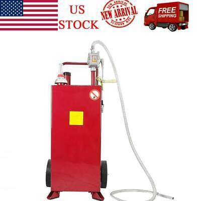Red 30 Gallon Gas Caddy Tank Storage Drum Gasoline Diesel Fuel Transfer Tool Us