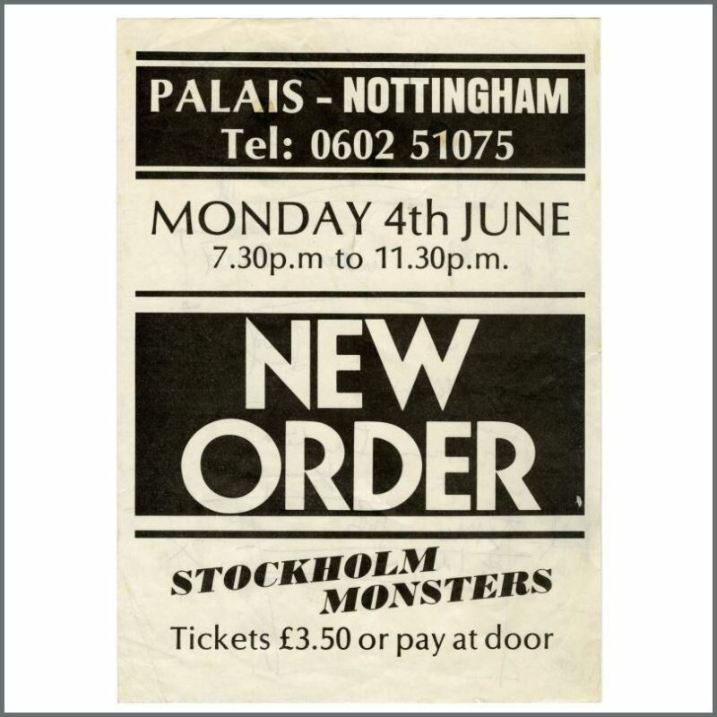 New Order 1984 Nottingham Palais Concert Handbill (UK)
