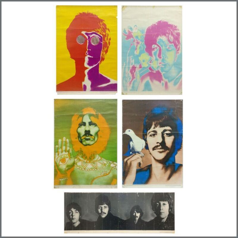 The Beatles 1968 Complete Set Of Five Richard Avedon Psychedelic Posters (UK)