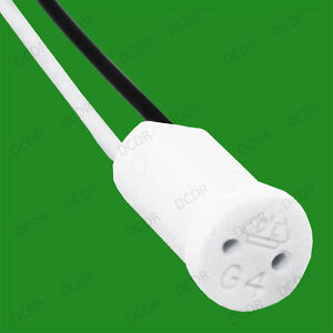 2x G4 Base Ceramic Lamp Holder Socket Cable, Halogen LED Bulb Down Light Fitting