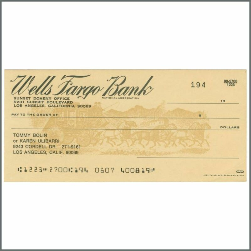 Tommy Bolin Unused Wells Fargo Bank Cheque (USA)