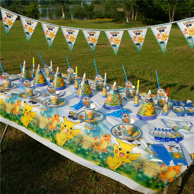 Pokemon Birthday Party Kids Favor Tableware Decoration Tablecloth Banner Plates