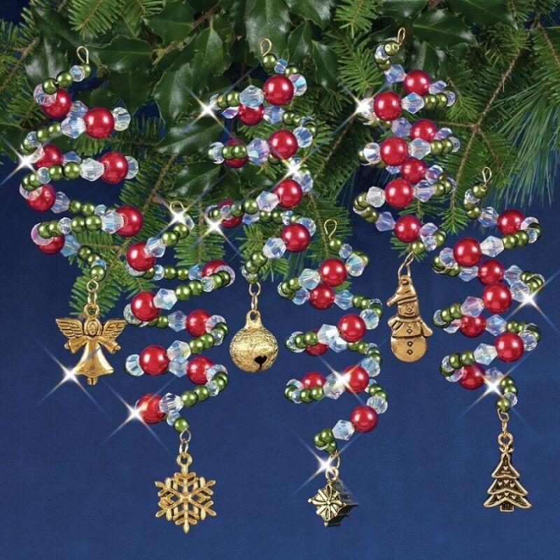 Nostalgic Christmas Beaded Crystal Ornament Kit Ruby, Green & Gold Xmas Charmers