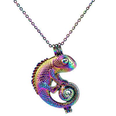 C240 Rainbow Color Lizard Chameleon Beads Pearl Cage Locket Pendant Steel Chain - Bead Lizard