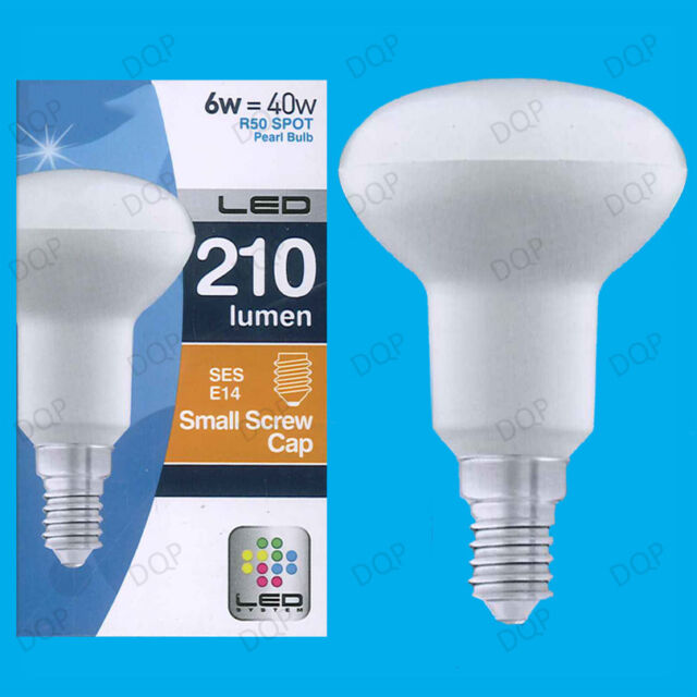 4x 6W R50 LED Ultra Low Energy Pearl Reflector Spotlight Bulb SES E14 Light Lamp