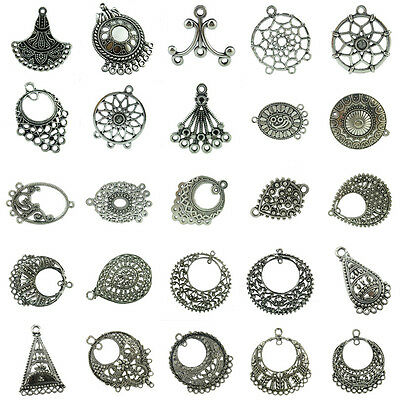 4pcs Antique Silver Alloy Filigree Crafts for Making Earrings Jewelry Findings 4 Antique Silver Jewelry