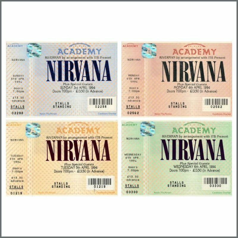 Nirvana 1994 Set Of London Cancelled Concert Unused Tickets (UK)