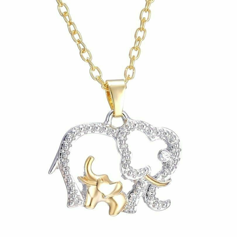 Baby And Mom Dad Elephant Necklace With Crystal Jewelry Mother's Day Gift