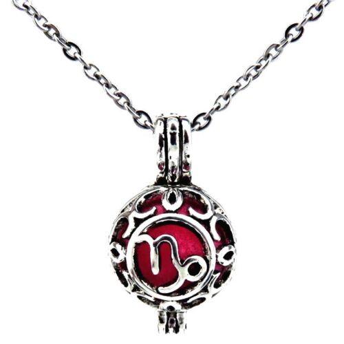 1pc Vintage Horoscope Pearl Bead Cage Cancer Taurus Gemini Leo Aries Necklace