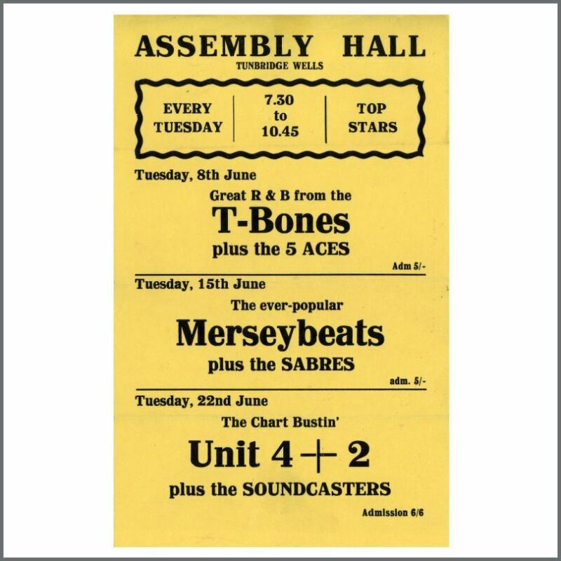 The Merseybeats & T-Bones 1965 Tunbridge Wells Handbill (UK)