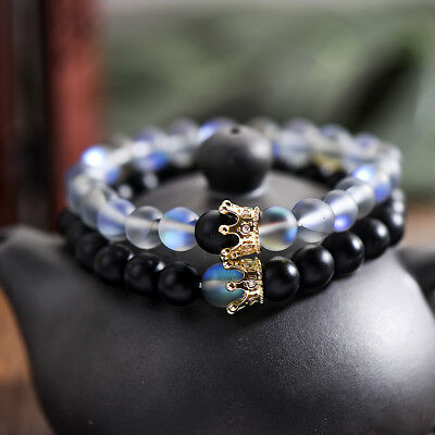 Beaded Crown (Couple His And Hers Distance Bracelets Moonstone Beads CZ Crown Lovers)
